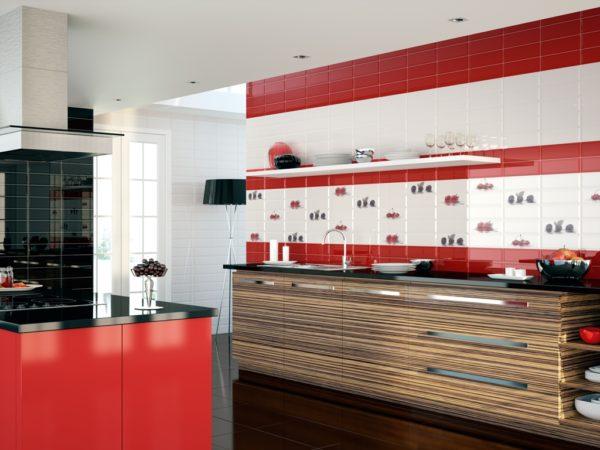 Rojo Biselado Brilo 10x30 - интерьер №1